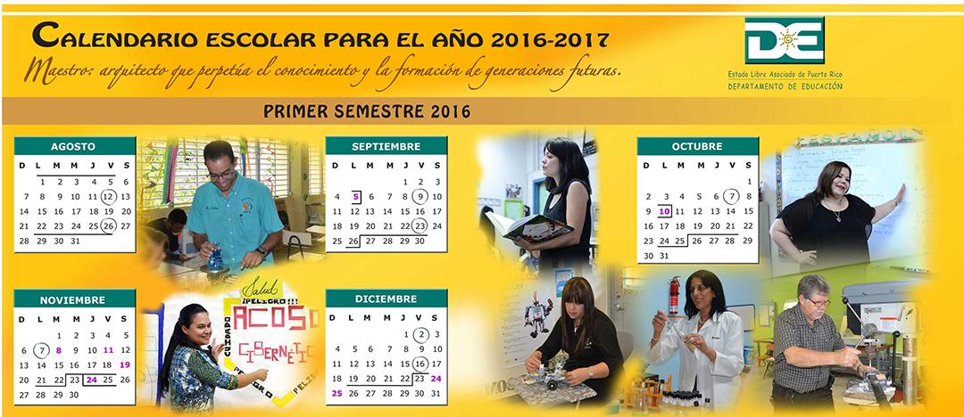 CALENDARIO ESCOLAR PARA EL AÑO 2016-2017 primer semestre