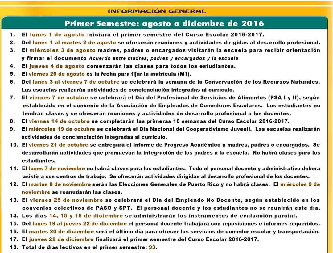 CALENDARIO ESCOLAR PARA EL AÑO 2016-2017 informacion general primer semestre