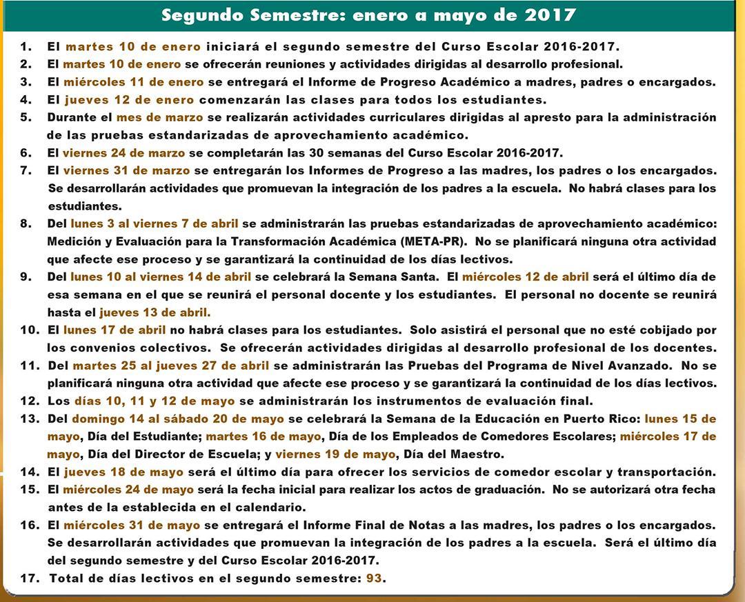 CALENDARIO ESCOLAR PARA EL AÑO 2016-2017 informacion general segundo semestre